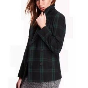 Old Navy double breasted plaid peacoat